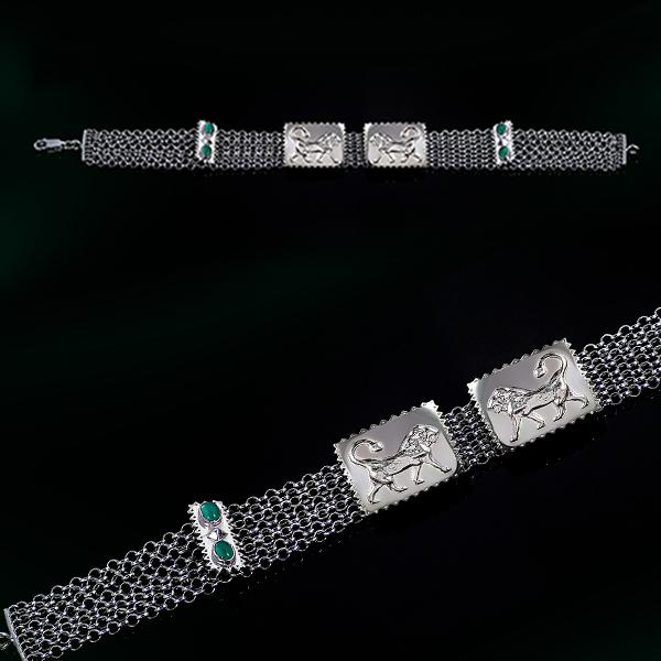 Lions rhodium plated bracelet