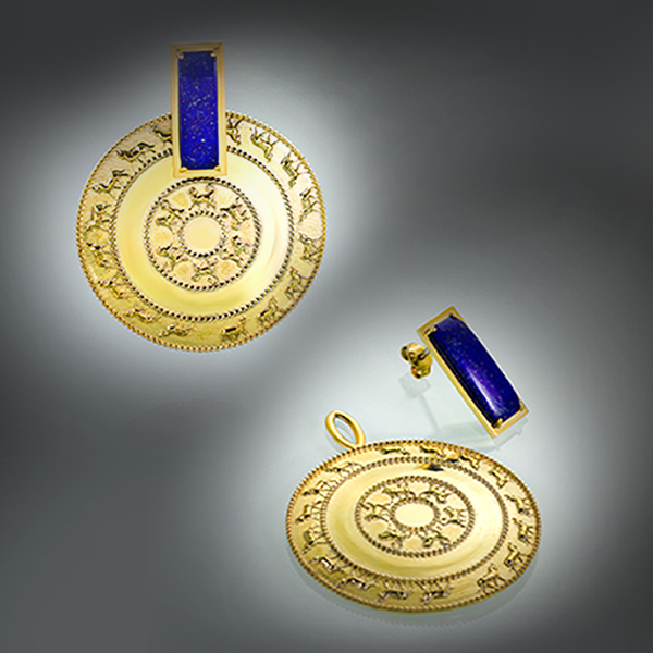 Shield of Sarduri the 2-nd gold plated earrings